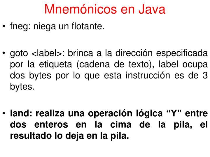 Mnemónicos en Java