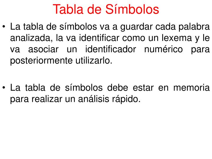 Tabla de Símbolos