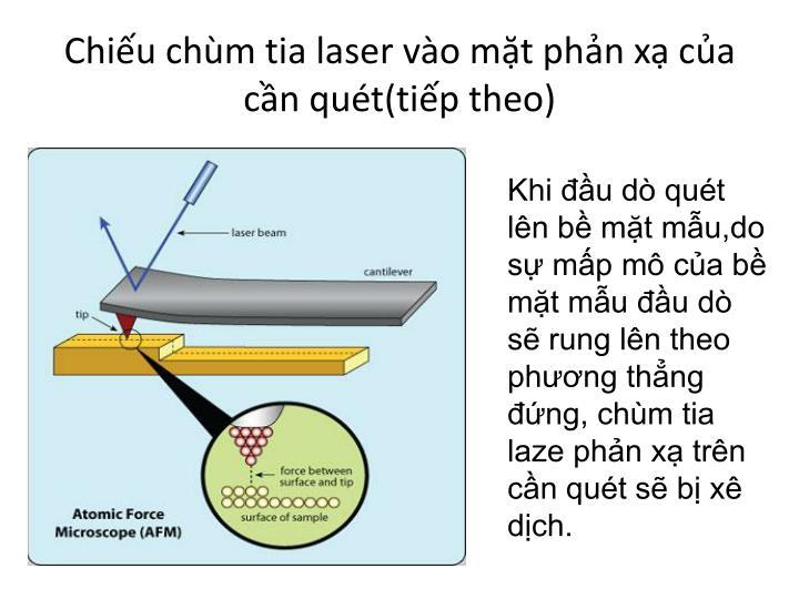 Chiếu chùm tia laser vào mặt phản xạ của cần quét(tiếp theo)