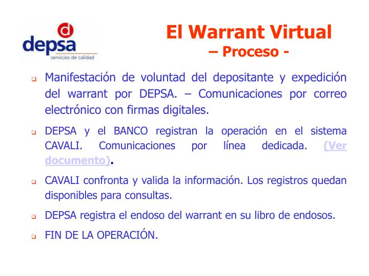 El Warrant Virtual