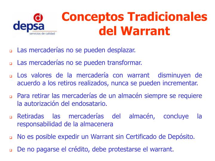 Conceptos Tradicionales del Warrant
