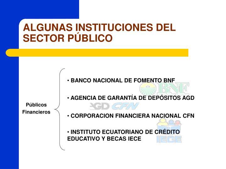 ALGUNAS INSTITUCIONES DEL SECTOR PÚBLICO