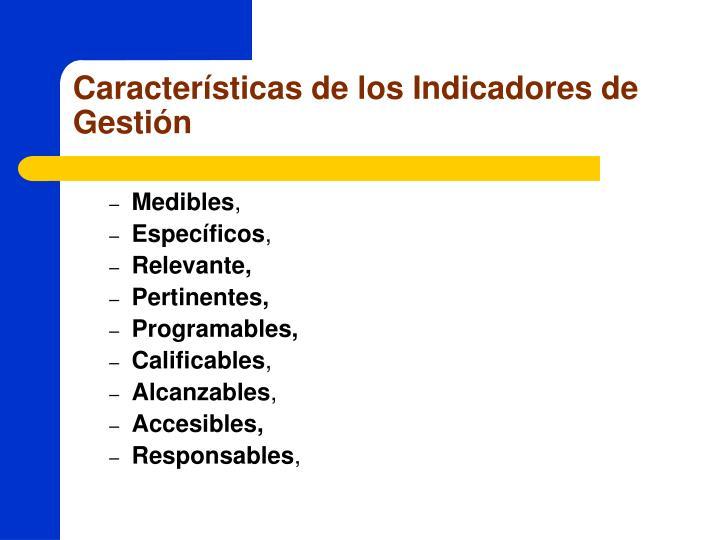Características de los Indicadores de Gestión