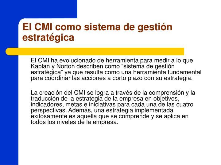El CMI como sistema de gestión estratégica