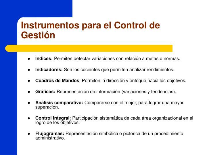 Instrumentos para el Control de Gestión