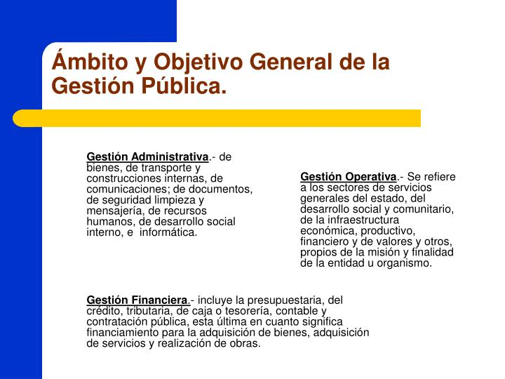 Ámbito y Objetivo General de la Gestión Pública.