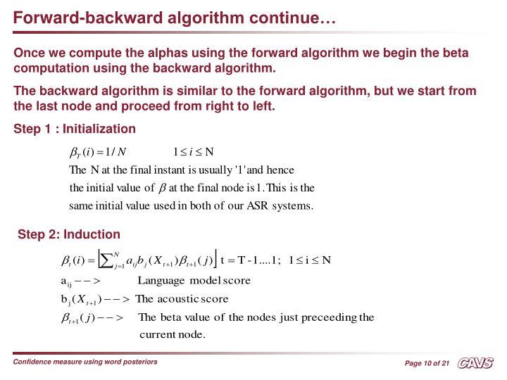 Forward-backward algorithm continue…