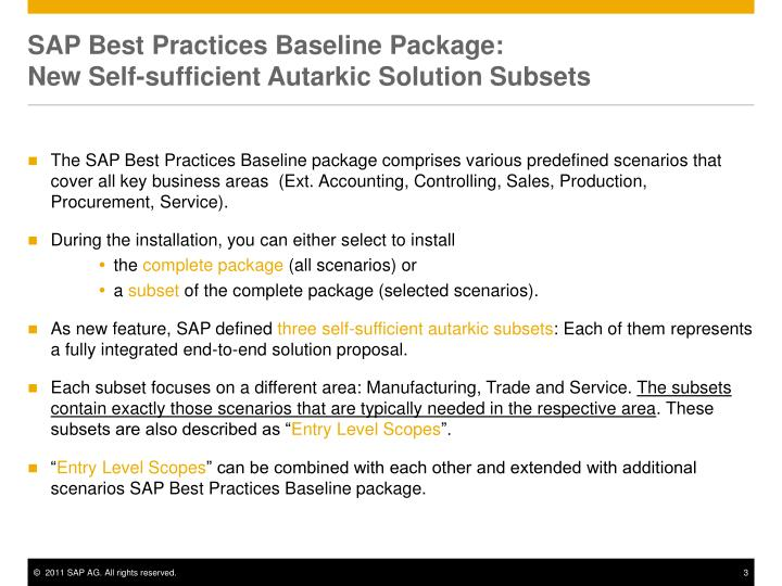 SAP Best Practices Baseline Package:
