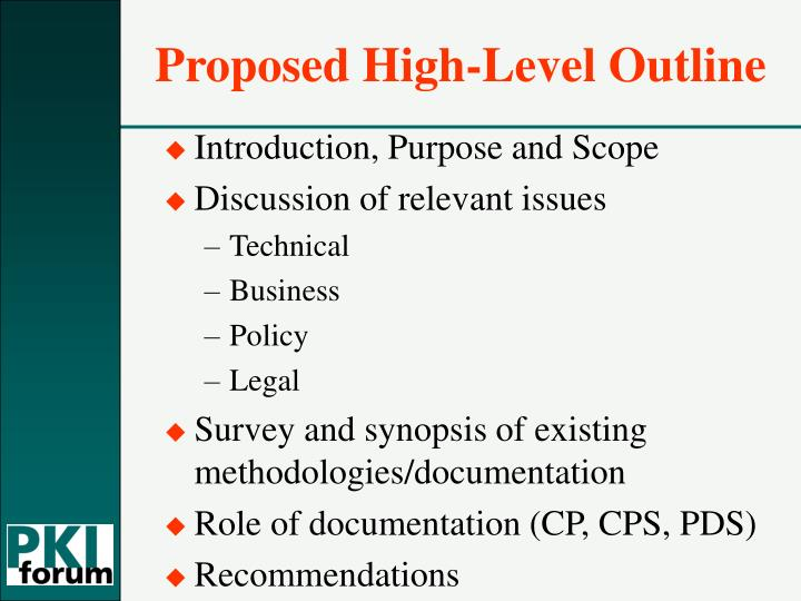 Proposed High-Level Outline