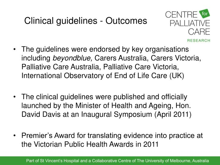Clinical guidelines - Outcomes