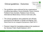 clinical guidelines outcomes
