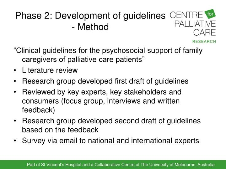 Phase 2: Development of guidelines - Method