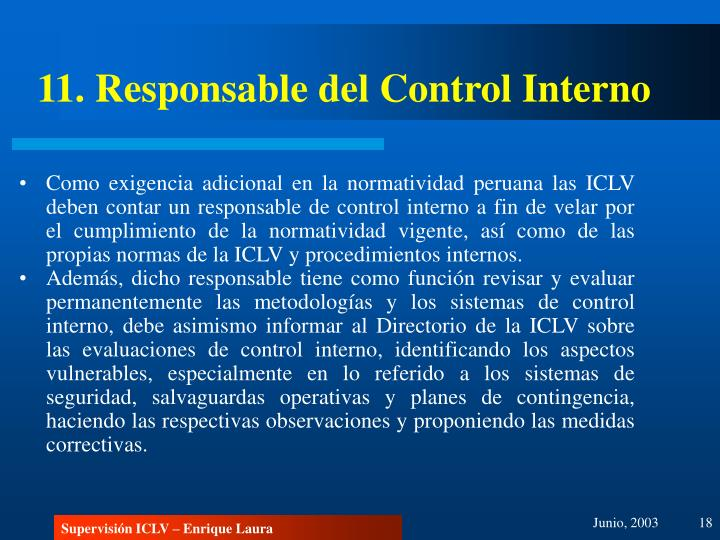 11. Responsable del Control Interno