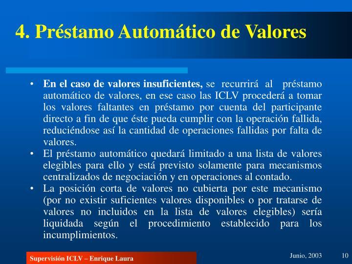 4. Préstamo Automático de Valores