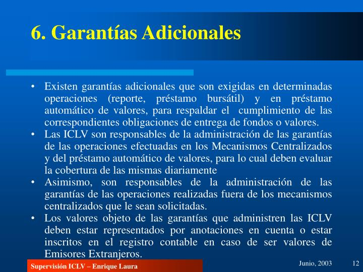 6. Garantías Adicionales