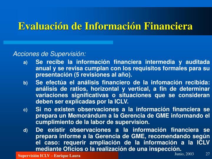 Evaluación de Información Financiera