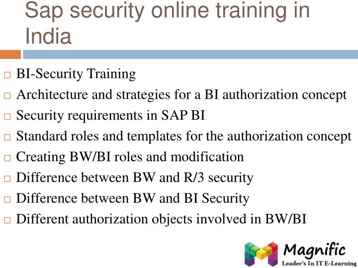 Sap security online training in India