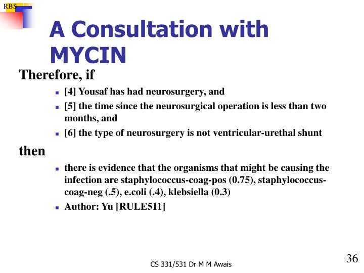 A Consultation with MYCIN