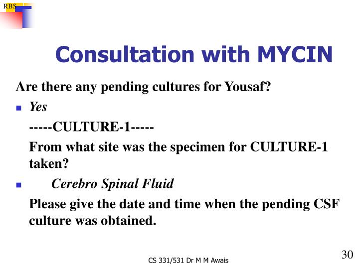 Consultation with MYCIN