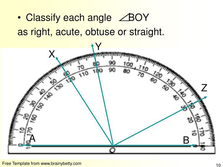 Classify each angle      BOY