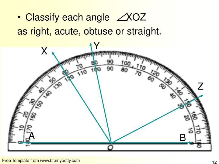 Classify each angle      XOZ