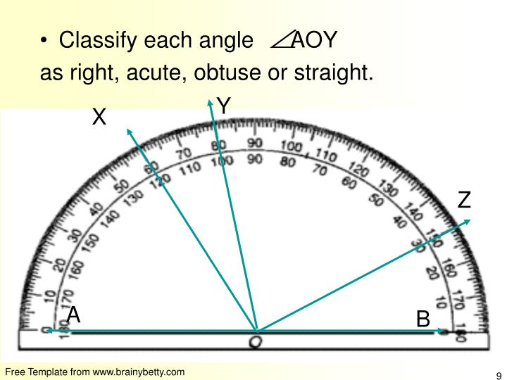 Classify each angle      AOY