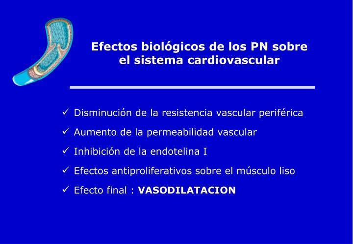 Efectos biológicos de los PN sobre el sistema cardiovascular