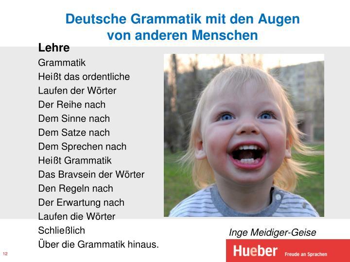 Deutsche Grammatik mit den Augen