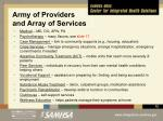 army of providers and array of services