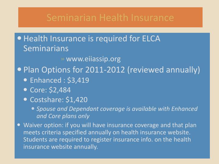 Seminarian Health Insurance