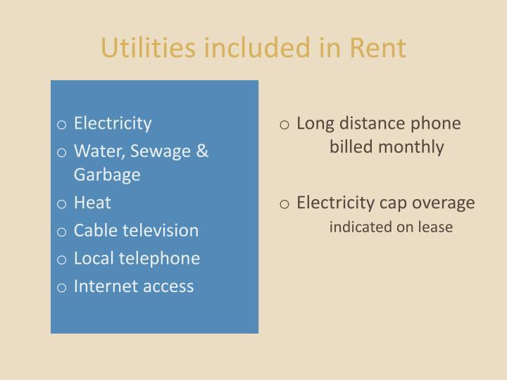 Utilities included in Rent