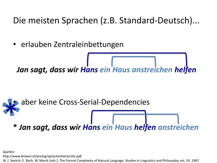 Die meisten Sprachen (z.B. Standard-Deutsch)...