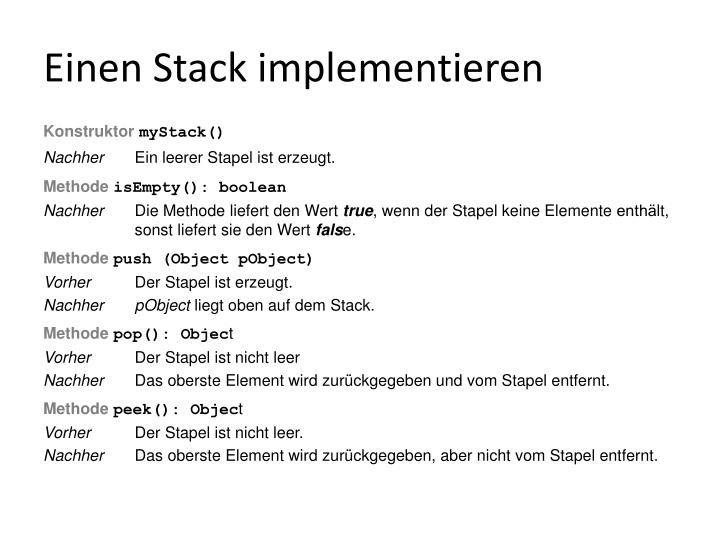 Einen Stack implementieren