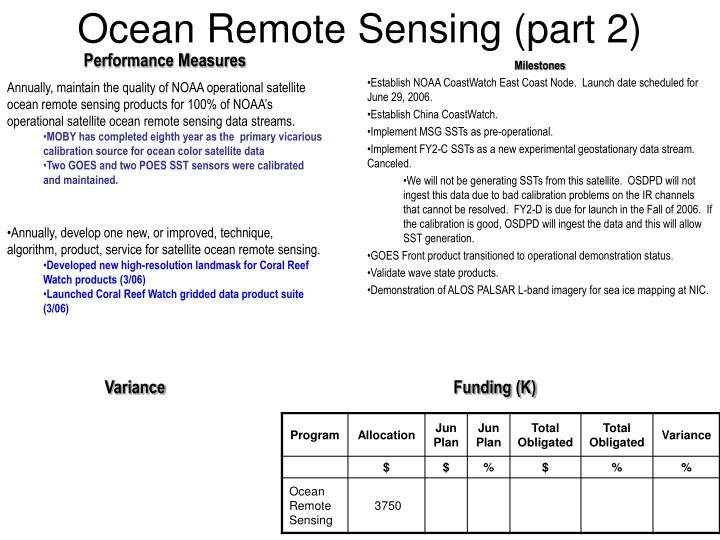 Ocean Remote Sensing (part 2)