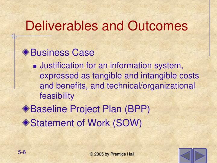 Deliverables and Outcomes