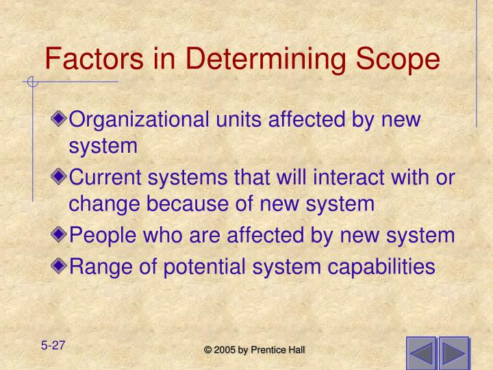 Factors in Determining Scope