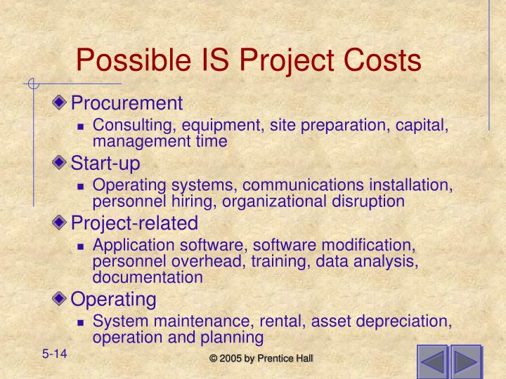 Possible IS Project Costs