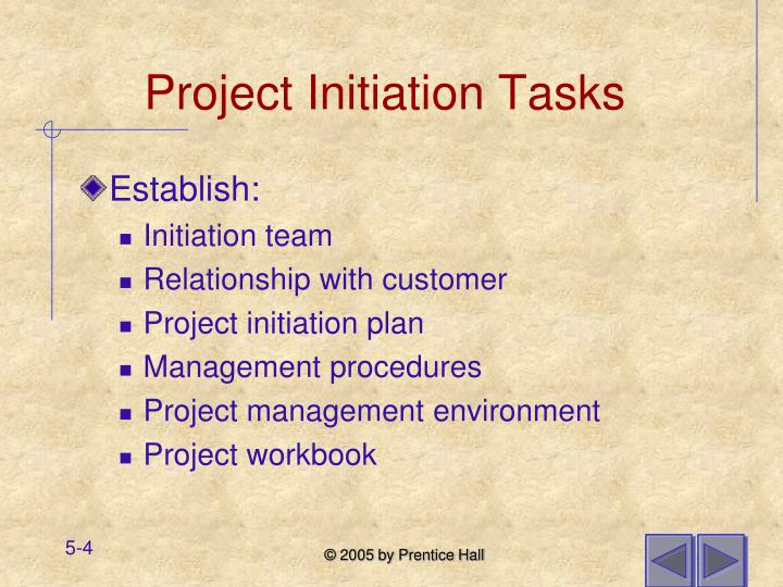 Project Initiation Tasks