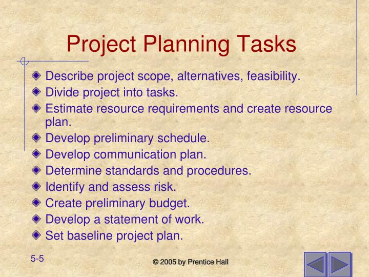 Project Planning Tasks