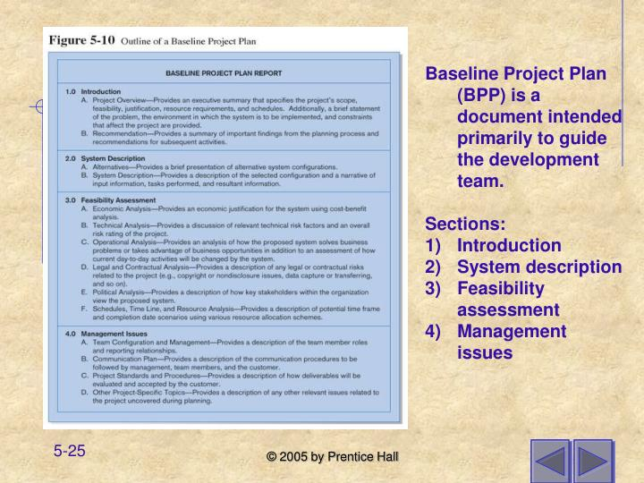 Baseline Project Plan (BPP) is a document intended primarily to guide the development team.