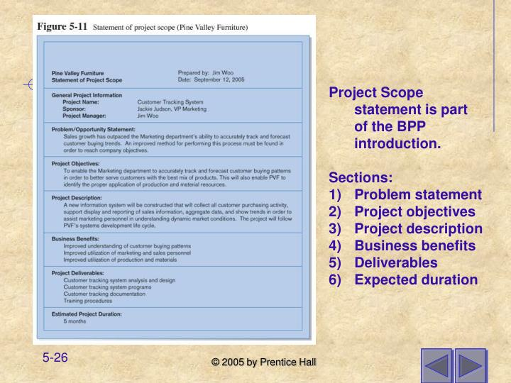 Project Scope statement is part of the BPP introduction.