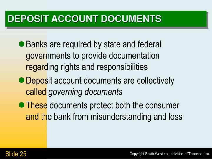 DEPOSIT ACCOUNT DOCUMENTS