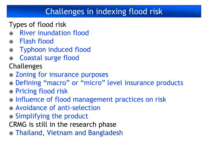Challenges in indexing flood risk