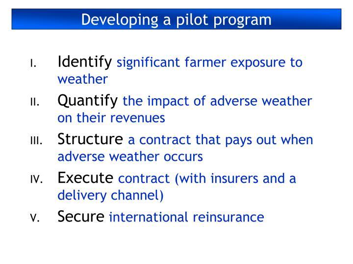 Developing a pilot program