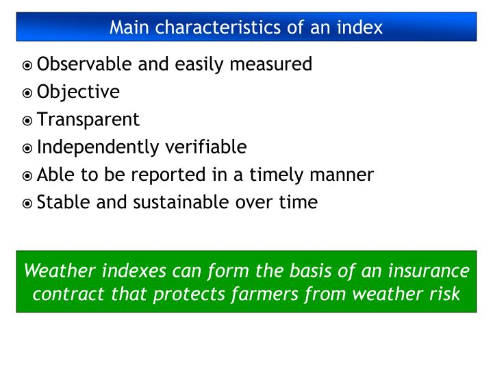 Main characteristics of an index