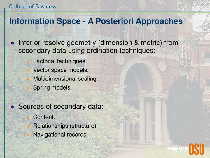 Information Space - A Posteriori Approaches