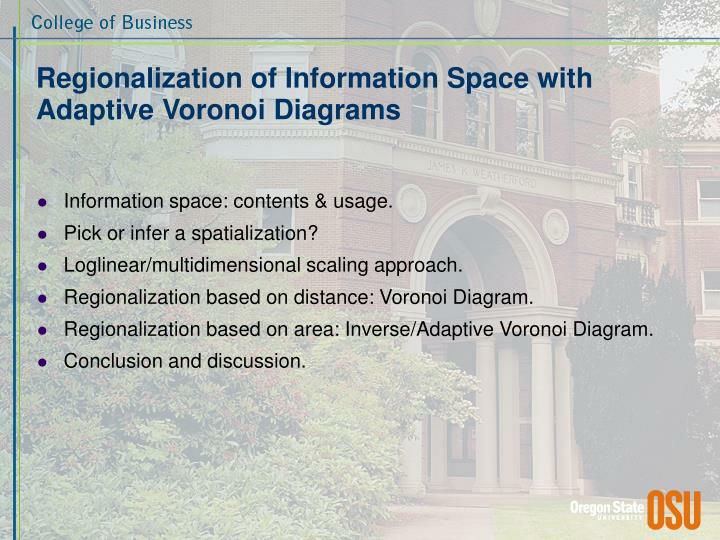 Regionalization of information space with adaptive voronoi diagrams1