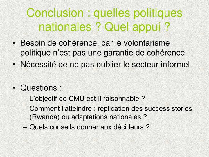 Conclusion : quelles politiques nationales ? Quel appui ?