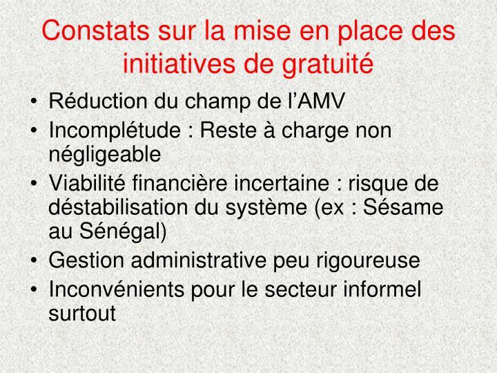 Constats sur la mise en place des initiatives de gratuité