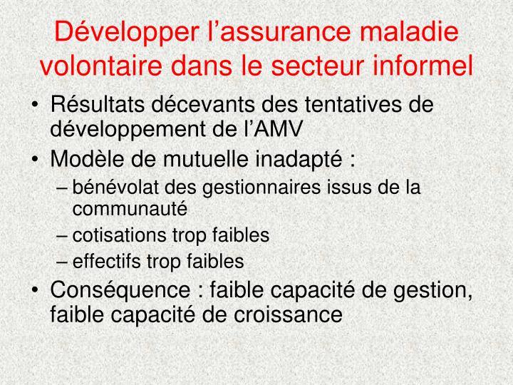 Développer l'assurance maladie volontaire dans le secteur informel